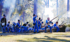 """<div class=""""source"""">Martin Steele</div><div class=""""image-desc"""">In a desperate final action, the few infantrymen of Major Francis Dade's command built a log """"redoubt"""" to try to gain some protection from Seminole rifle fire. Their efforts were in vain, as almost all of them were killed in the Dec. 28, 1835 ambush near present day Bushnell. </div><div class=""""buy-pic""""><a href=""""/photo_select/22622"""">Buy this photo</a></div>"""