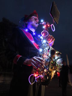 The City of Webster hosted their annual lighted night Christmas parade on Saturday, Dec. 5. The following are images from that event. For the story and additional photos, see the Dec. 10 edition of the Sumter County Time. South Sumter band student Alex Tomberlin is shown practicing by Christmas light.